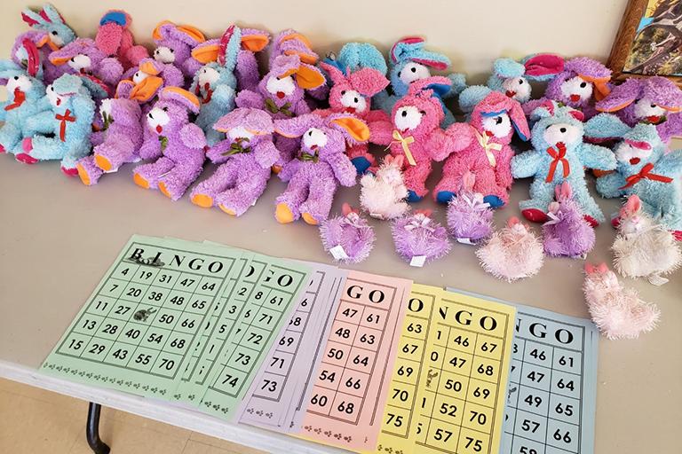 Easter bingo at Life Care Center of Wilbraham, Massachusetts