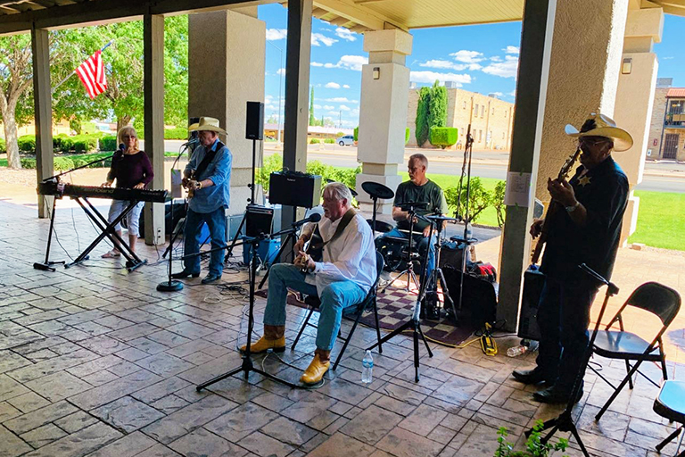 Cochise County Line playing on the patio