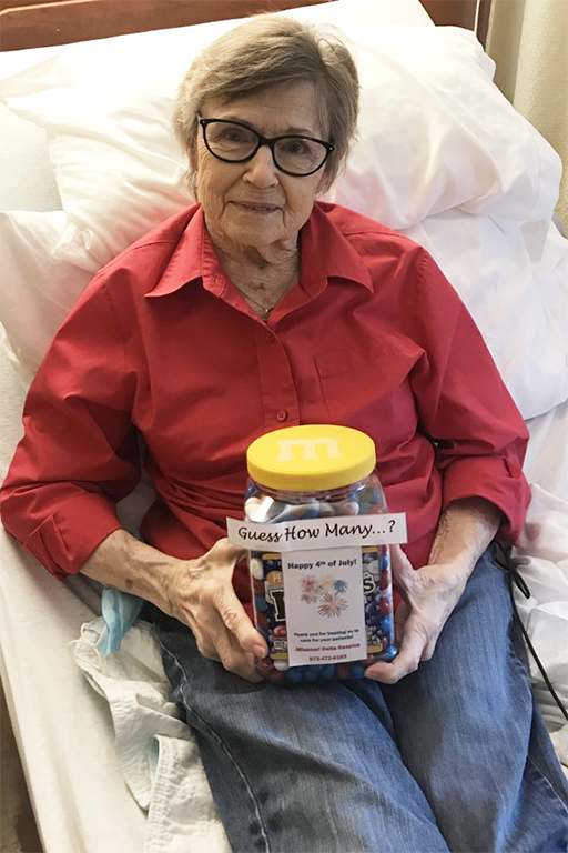 Resident Trena Novak with her jar of M&Ms at Life Care Center of Cape Girardeau
