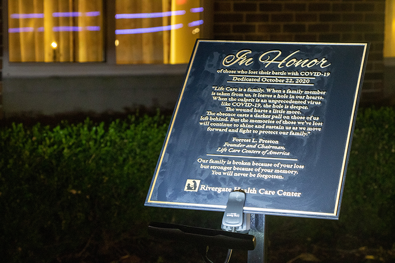 Rivergate Health Care Center unveiled the memorial plaque.