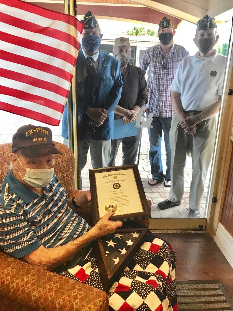 Seeley with members of the American Legion