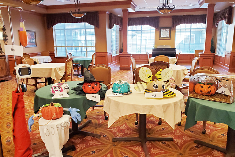 Paper mache pumpkins at Life Care Center of South Hill