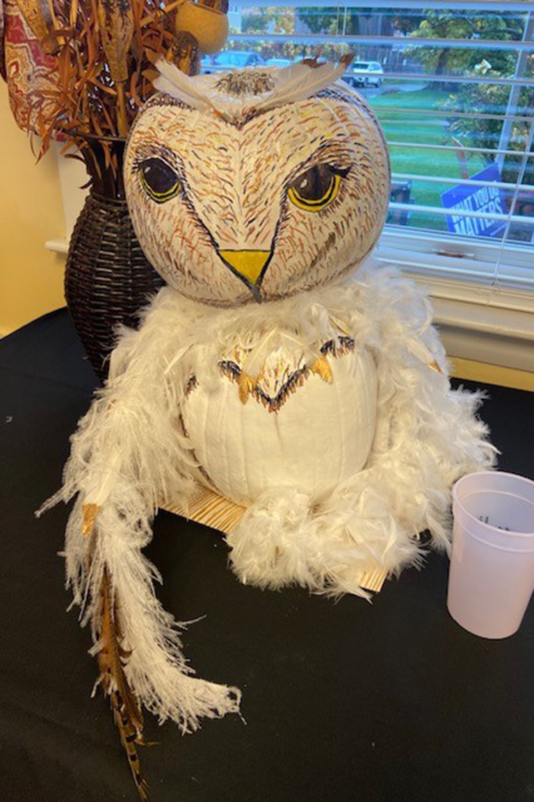 An owl pumpkin at Life Care Center of Leominster