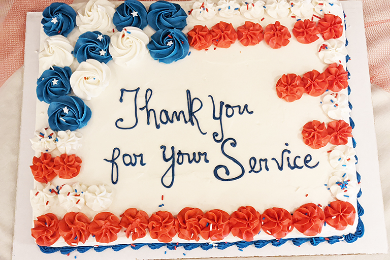 A cake for veterans at Life Care Center of Greeneville