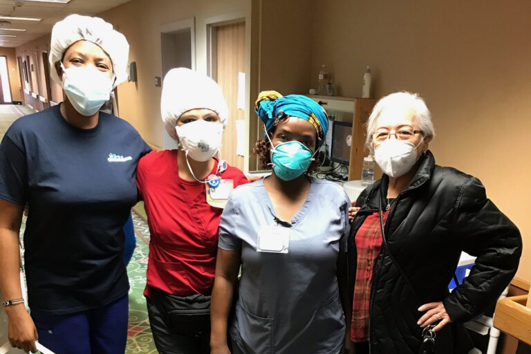 Life Care Center of Plano champions, left to right: Anne Tatkei, licensed vocational nurse; Sonia Desai, activity director; Sibusisiwe Ndlovu, certified nursing assistant; and Ludivina Castro, laundry