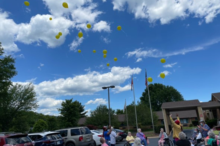The balloon launch at Life Care Center of Red Bank