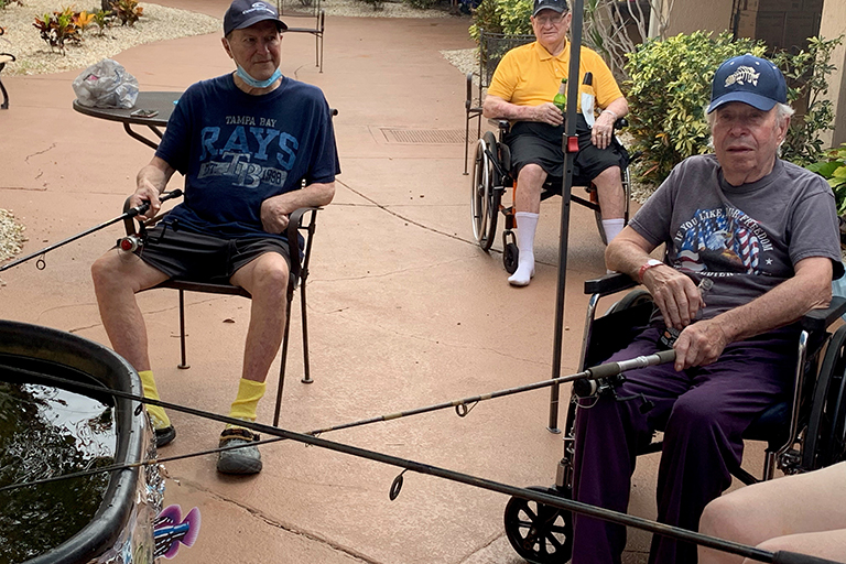 Residents at Life Care Center of Punta Gorda (left to right): Keith Broussard, Thomas Hannas and Oscar Padron
