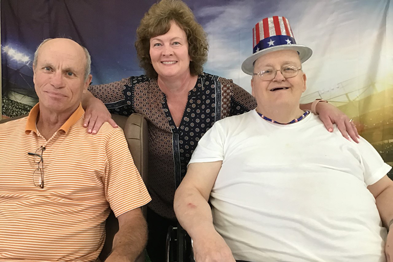 Resident Gary Yates with his family at Life Care Center of Centerville