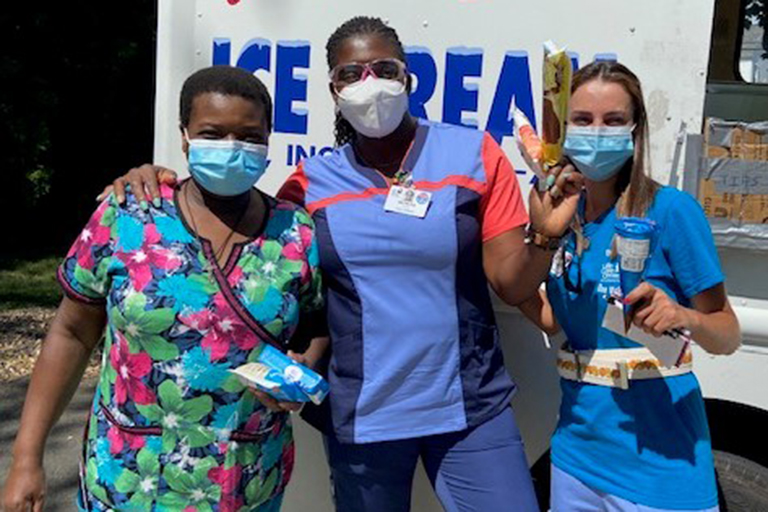 Leominster CNAs enjoying ice cream, left to right: Josephine Lorime, Natasha Schmidt and Danielle Viana