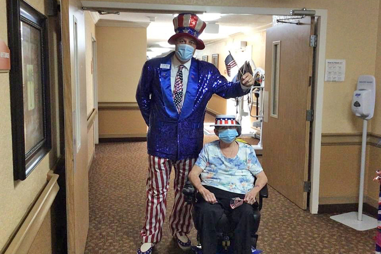 Mr. America from Trilogy visiting Melbourne resident Betty Langworthy