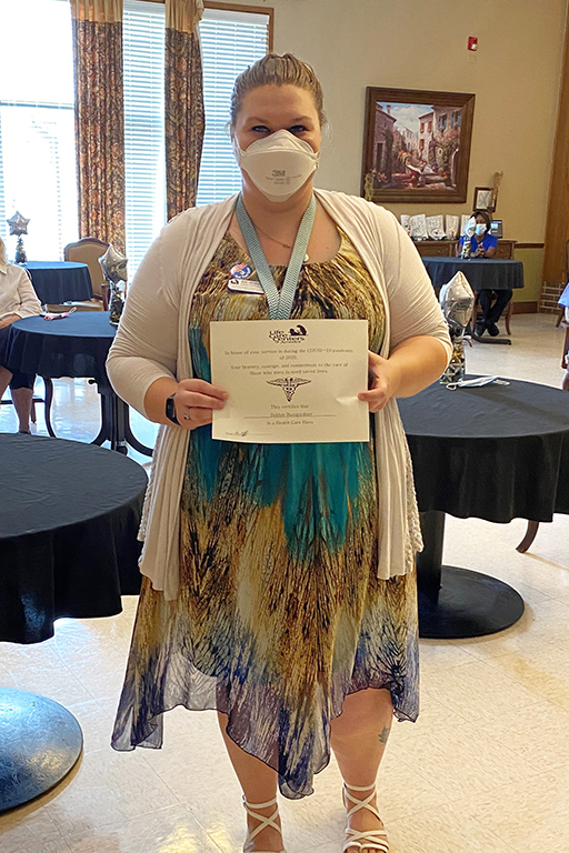 Bobbie Bumgardner, activity director and a COVID hero at Life Care Center of Andover