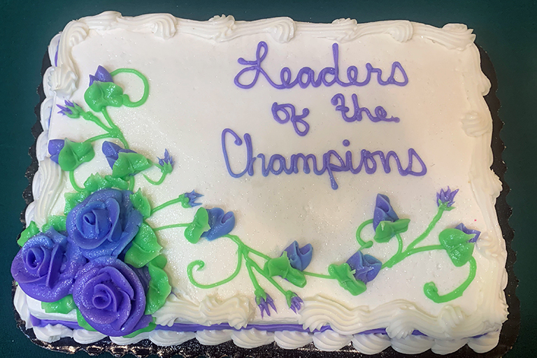 Cake served at the Plains Region's COVID Awards ceremony